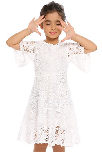 Price comparison product image Arshiner Flower Girls White Lace Vintage Wedding Party Princess Dress First Communion Dress,White - Style 1,120(Age for 6-7Y)