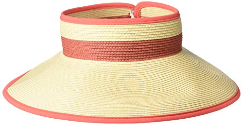 (Columbia Women's Global Adventure Packable Visor, Natural/Red Coral, One)