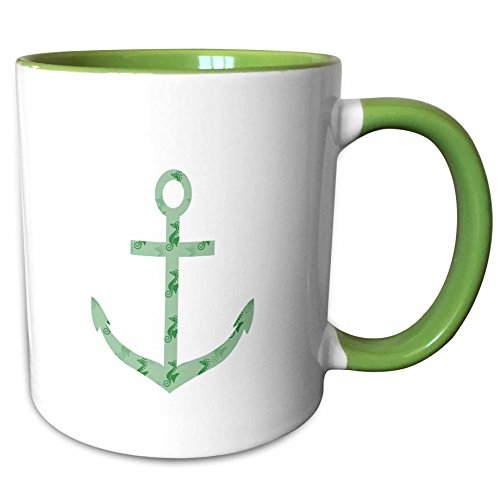 3dRose PS Beach - Mint Sea Horses nautical beach theme ocean art - 15oz Two-Tone Green Mug (mug_130539_12)