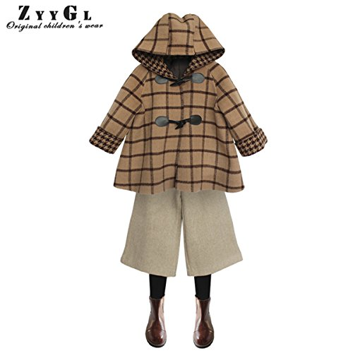 Girls British Style Grid Hooded Double-faced Woolen Goods Windproof Warm Loose Brown Tweed Coat by ZYYGL