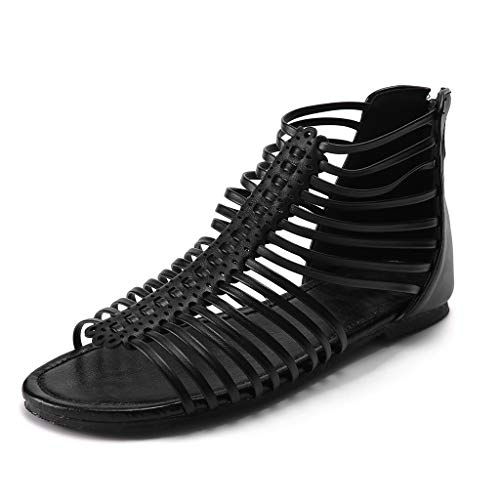 SUNyongsh Women's Summer Sandals Fashion Roma Flats Hollow Peep Toe Slippers Casual PU Shoes Ladies Mules Booties Black ()