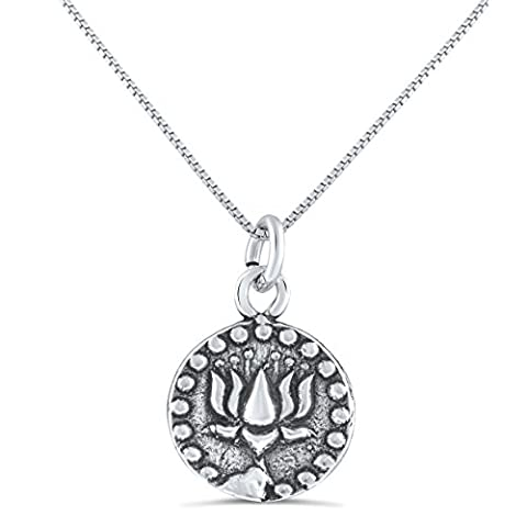 Sterling Silver Double Sided Lotus Flower & Om Symbol Necklace (18