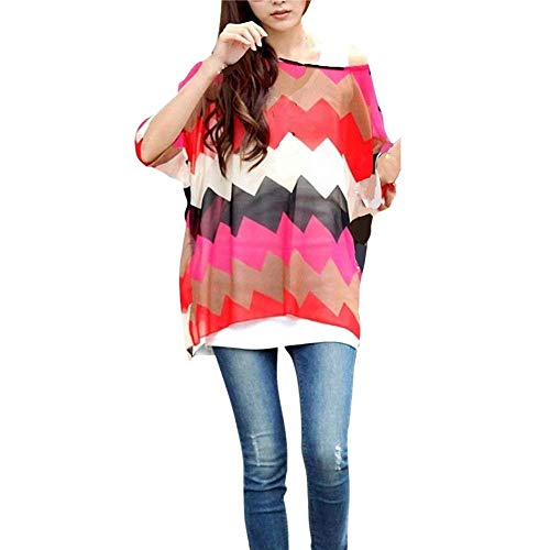 Irrgulier Rond Modle Spcial Blusen Mince Boho Longues Haut Femme Style Col 18 lgant Mousseline Bouffant Tops Confortable Manches Impression Top Chemise Colour Et qvA7OYSYwx