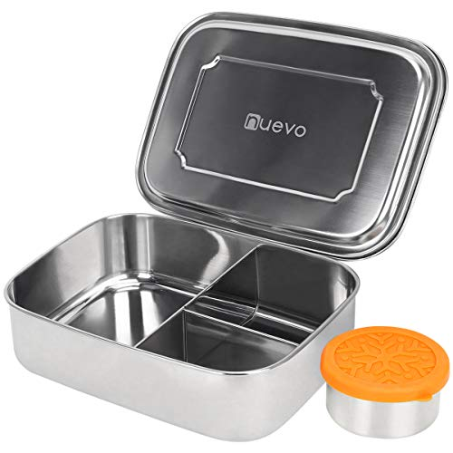 (Large Stainless Steel Bento Box with Leakproof Dips Condiment Container (7.4oz) for Adults and Teens -3 Section Metal Lunch containers Perfect for Whole Sandwich and Well-Balanced Variety of Foods )