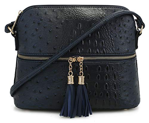 - SG SUGU Crocodile Pattern Lightweight Medium Dome Crossbody Bag with Tassel | Navy