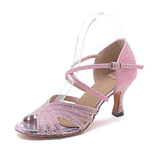 Mujer Latino Jazz Moderno Zapatos De Swing Sandalia Tacones Alto Rendimiento Profesional Pedrería Purpurina Hebilla Tacón Rosa
