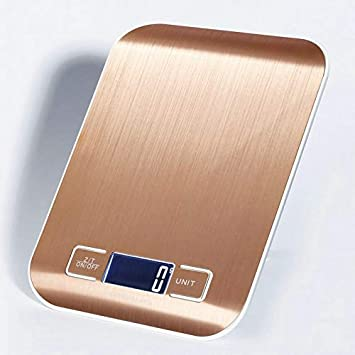 ZHANGYUGE Báscula de Cocina electrónica LCD balanza Digital medir Herramientas de Cocina de Acero Inoxidable 10Kg/1G Balanza Digital Báscula,Rosa de Oro: ...