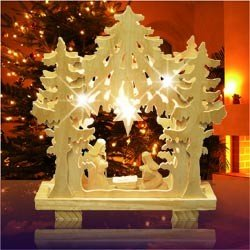 Weihnachtsdeko Fensterbild Holz U0026quot;Krippeu0026quot;