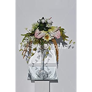 Rustic Pink and Green Anthurium, Sunflower & Scabiosa Floral Arrangement 6