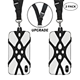 ROCONTRIP 2 in 1 Cell Phone Lanyard Strap Case Holder with Detachable Neckstrap Universal for Smartphone iPhone 8,7 6S iPhone 6S Plus,Samsung Galaxy Google Pixel 4.7-5.5 inch (Black x 2)
