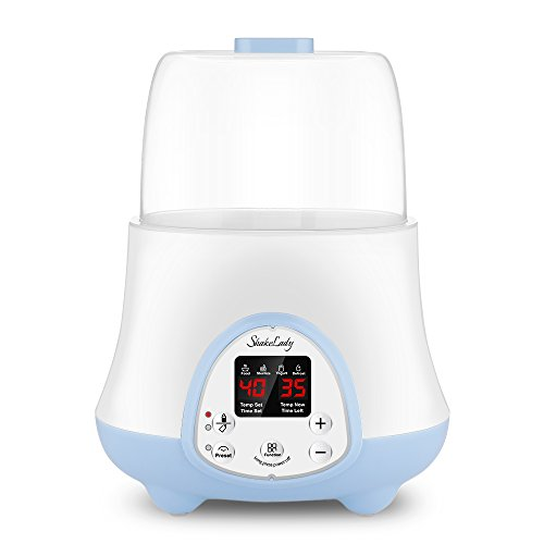 Baby Bottle Warmer Steam Sterilizer 4-in-1 Breast Milk Formula Baby Food Heater Intelligent Thermostatic System with LED Real-time,Fast Warming and Accurate Temperature Control (White)