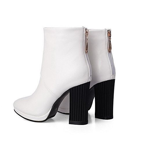 Allhqfashion Women's Pointed Closed Toe Zipper Solid High Heels Boots White 7Bvd6