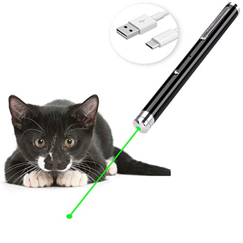 Ulako USB Rechargeable Cat Toys Interactive LED Light Pointer for Cats Catch Teasing Scratching Training
