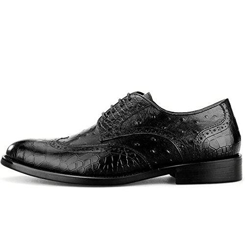 Scarpe da Uomo in Pelle Modello Coccodrillo Scarpe Eleganti Abito da Sposa Casual Scarpe da Uomo Derbys Smart Black