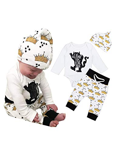 Newborn Baby Boy Girl Clothes Monster Cartoon Romper Crown Pants Hat Long Sleeve Outfits Set 12-18 Months