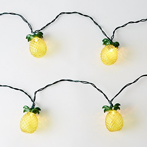 Glitter Tropical Pineapple Gem String Rope Lights Indoor Party Supplies Christmas Seasonal Decor 8 Feet 10 LED Battery Powered ()