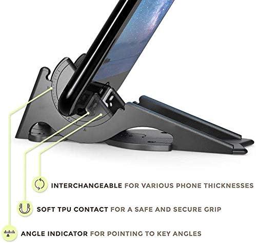 SFASTER Folding Stand for Phone Tablet Holder Desk Adjustable Phone Stand Universal Portable Plastic Phone Desktop Holder Mount Three-Legged Bracket Card-Type Stand Black