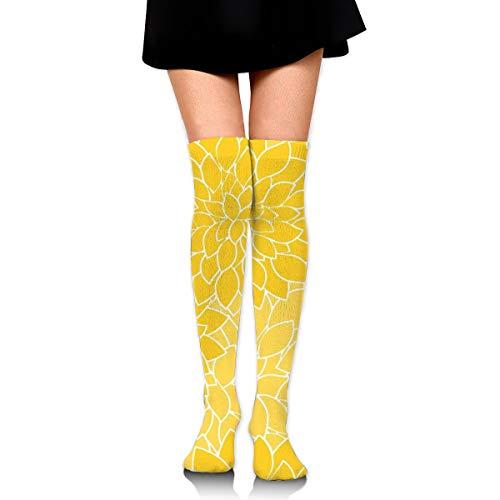 Atsdes Mustard Yellow Large Dahlia Flower Petals Long Full-length Socks - Running, Sports, Travel, Cycling, Traveling 3.35
