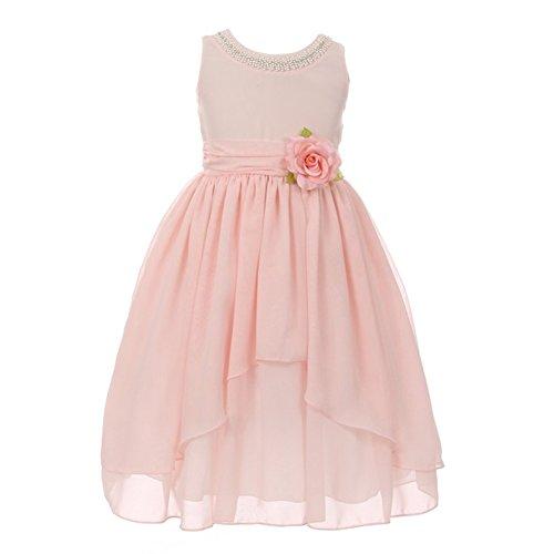 Kiki Kids Big Girls Blush Pink Chiffon Beaded Neckline Flower Girl Dress 10 from Kiki Kids
