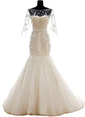 Snowskite Womens Sweetheat Mermaid Long Sleeves Lace Wedding Bridal Dress