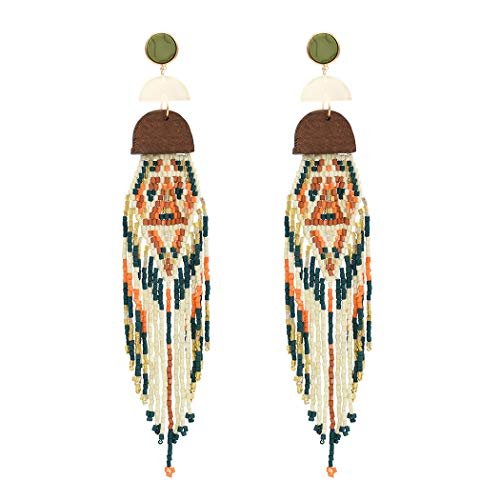 Bohemian Statement Beaded Long Tassel Earrings Women Wood Multi Ear Jewelry (Red)