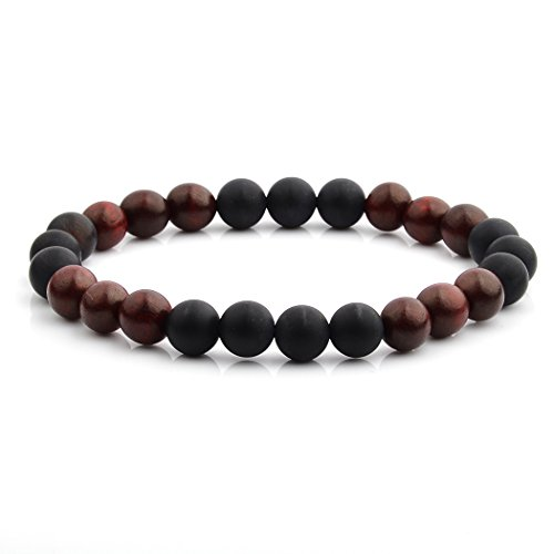 Crucible Matte Onyx with Red Sandalwood Willow Wood Beaded Stretch Bracelet (8mm (Matte Willow)