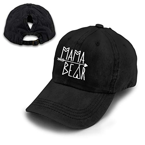 (OASCUVER Mama Bear Denim Hat Adjustable Female Stretch Baseball Hats (Ponytail Black, One Size))