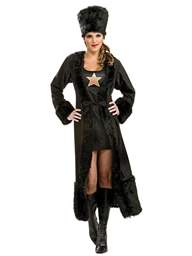 Fur Coat Costumes Halloween (Rubie's Costume Co. Women's Black Russian Costume Dress, As Shown, Standard)
