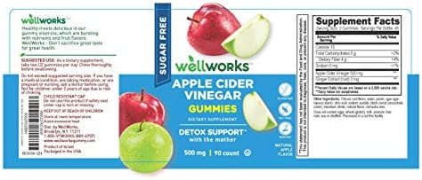 WellWorks Sugar Free Apple Cider Vinegar Gummies – ACV with The Mother – 500 mg – Great Tasting Natural Flavor Vitamin Supplements – Gluten Free Vegetarian – for Weight Loss – Adults – 60 Gummies 4