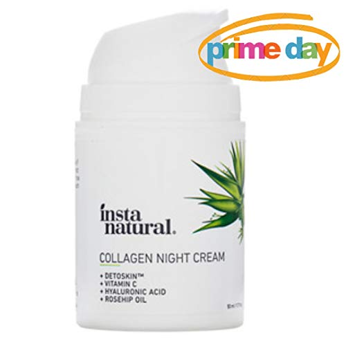 Collagen Night Anti Aging Cream - Anti Wrinkle Moisturizer for Face & Neck- Helps Reduce Appearance of Wrinkles & Fine Lines - Natural & Organic - Vitamin C & Hyaluronic Acid - InstaNatural - 1.7oz (Best Night Cream For Fine Lines)