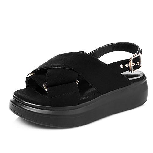 PENGFEI Chanclas de playa para mujer Personalidad de zapatillas de playa Verano femenino Scrub antideslizante Sandalias de fondo grueso Negro y gris Cómodo y transpirable ( Color : Gris , Tamaño : EU4 Negro