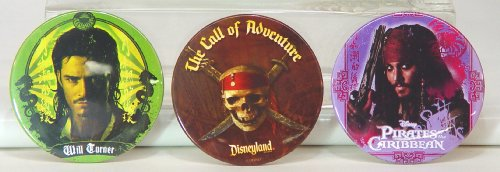 Pirates of the Caribbean & Disneyland 3 Large Button set Captain Jack & Will - Captain 3 Caribbean Jack