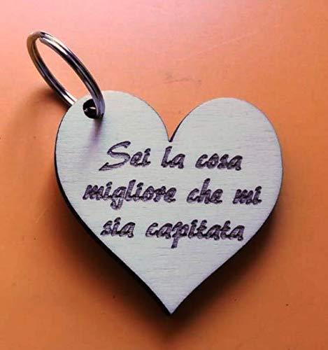 PORTACHIAVE CUORE in legno e scritta personalizzata Regalo Compleanno San Valentino Natale Love amore ORIGINALE