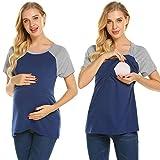 Ekouaer Womens Nursing Tops,Casual Maternity Tee Shirt Loose Breastfeeding Clothes Navy Blue Large