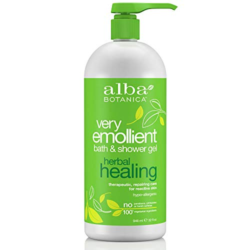 Alba Botanica Very Emollient Herbal Healing Bath & Shower Gel, 32 Fl Oz - Herbal Moisturizing Shower Gel