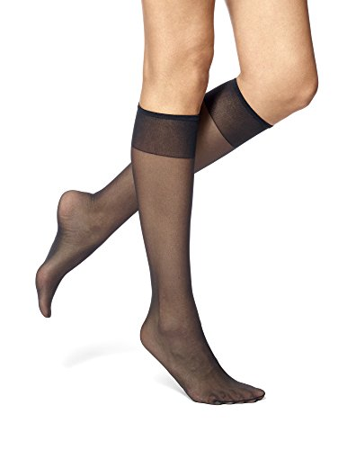 - No Nonsense Women's Knee High Pantyhose with Sheer Toe, 10 Pair Value Pack, Black, One Size