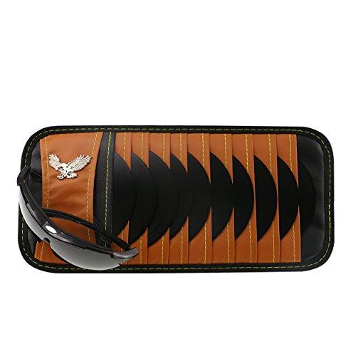 Vulcan-x CD DVD Sun Visor Organizer Holder Car Detachable PU Auto Multi-Purpose Bag for Sunglasses Eagle Badge vehicle-mounted 10 CD DVD - Sunglasses Prado