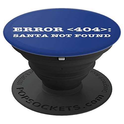 Nerdy Error 404 Santa Christmas in July Computer Geek Xmas PopSockets Grip and Stand for Phones and Tablets ()