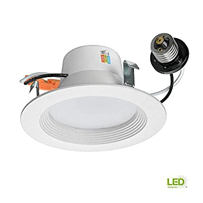 Commercial Electric 4 in. White Recessed LED Color Changing CCT Downlight, 10 Watt, 625 Lumens, 3000-4000-5000K Soft, Br