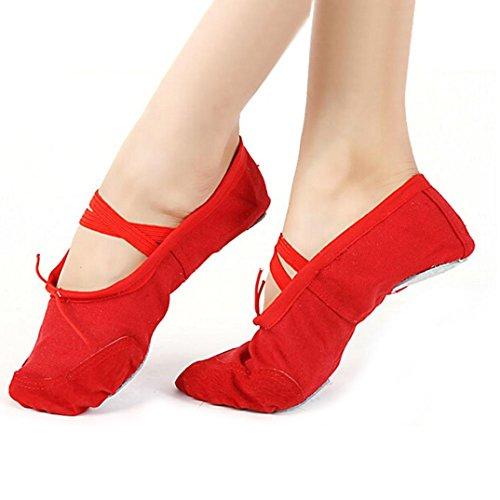 Gillberry Kvinnor Vuxen Canvas Balettdansskor Tofflor Pointe Gymnastik Skor Röd