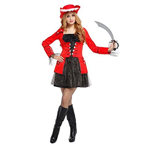 Ninja Lady Warrior Costumes (ZSY Women's Halloween Costume Pirates Of The Caribbean With Red Hats)