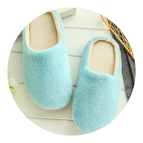 2018 Soft Plush Cotton Cute Slippers Shoes Non-Slip Floor Indoor House Home Furry Slippers,TX002W Blue,8