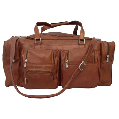 Piel Leather 24In Duffel with Pockets, Saddle, One Size ()