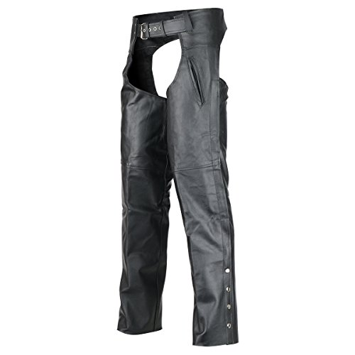 Deep Pocket Motorcycle Leather Chaps M