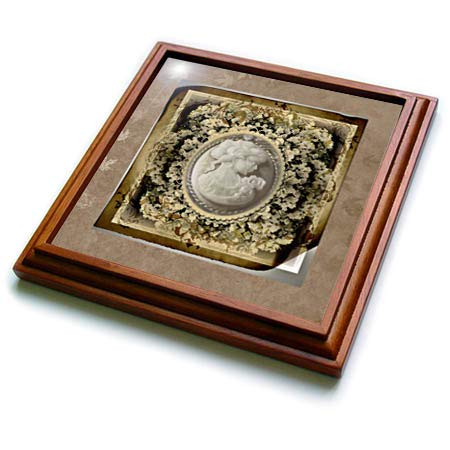 3dRose Beverly Turner Cameo Design - Image of Vintage Cameo in Sepia Flowered Frame - 8x8 Trivet with 6x6 ceramic tile ()