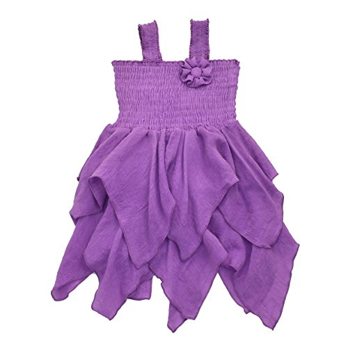 - Toddlers and Girls Gauze-Cotton Handkerchief Hip Hip Hooray Dress in Lilac 4T