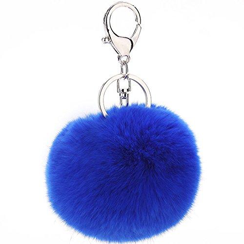 2 x Rabbit Fur Ball PomPom Cell-Phone Car Key chain Handbag Charm Key- ball Ring 8 CM Mascot metal plate (SILVER, ROYAL BLUE)
