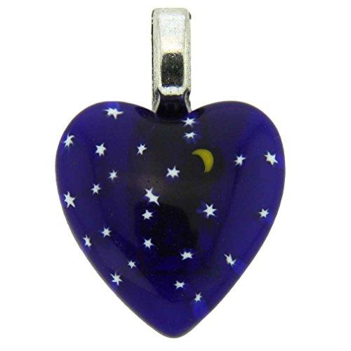 GlassOfVenice Murano Glass Millefiori Heart Pendant Medium - Starry - Heart Millefiori Murano
