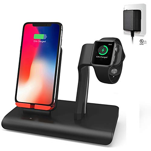 2 in 1 Charging Stand Compatible iPhone Apple Watch, Premium PVC 5W Charger Dock Station, Elegant Black Red (UL Certified 5V/2A USB Adapter Include)