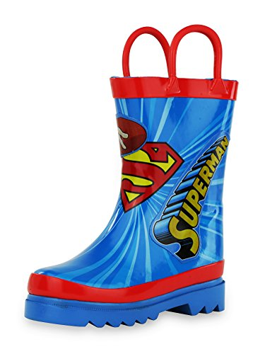 DC Comics Superman Boy's Rain Boots - Size 11 Little (Red Superman Boots)